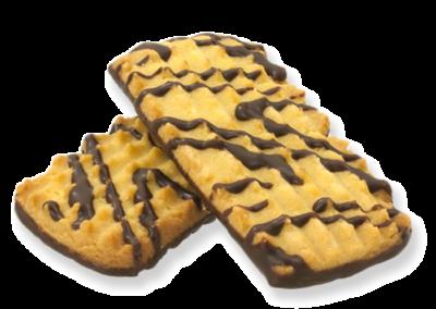 Ciastka dekorowane polewą kakaową